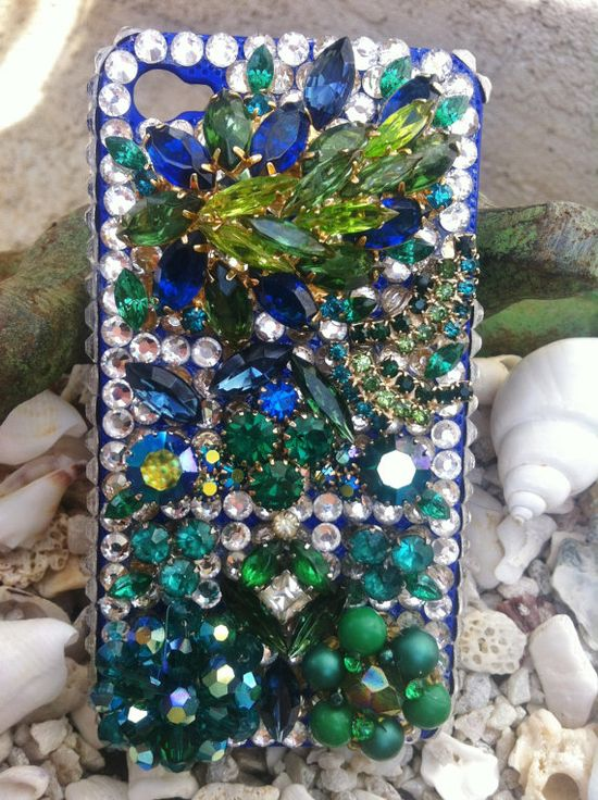 Beautiful unique blinged out iPhone 4/4s cover by Kianaskases, $76.00