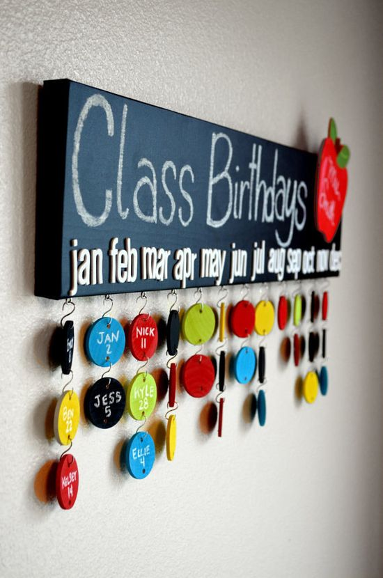 Teacher Gift - Chalkboard Class Birthday Calendar- 50 Name Circles- Made to Order on Etsy, $80.00 gift for the kindergarten class