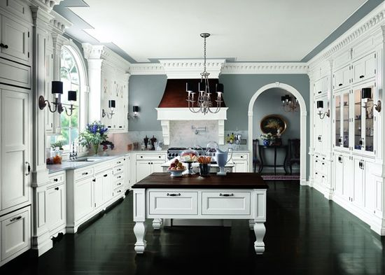 Vintage White Kitchens Design Dark Wood Flooring Marble Backsplash