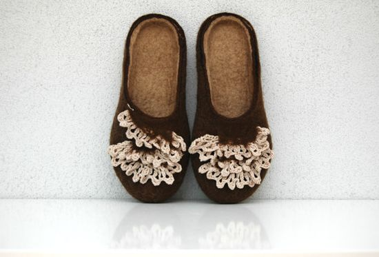 Hand felted slippers Coffee with cream handmade crochet by jurgaZa, $68.00