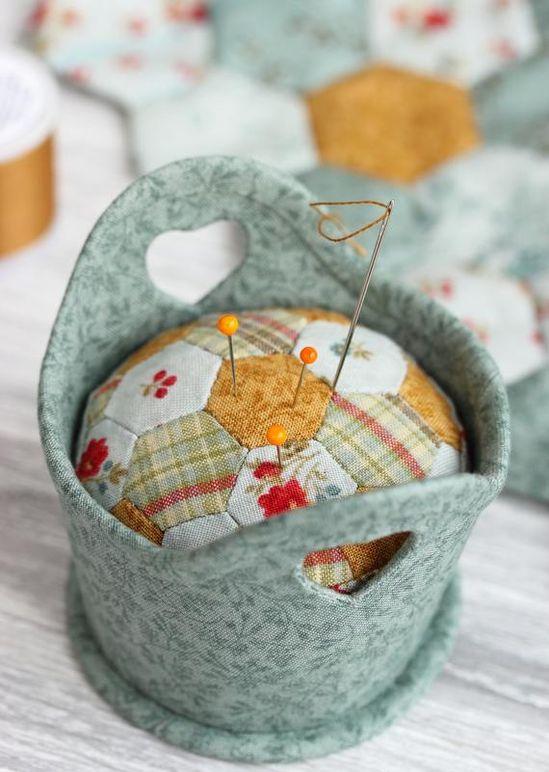 PDF Basket with Hexies Pincushion Sewing Pattern & Tutorial | Etsy