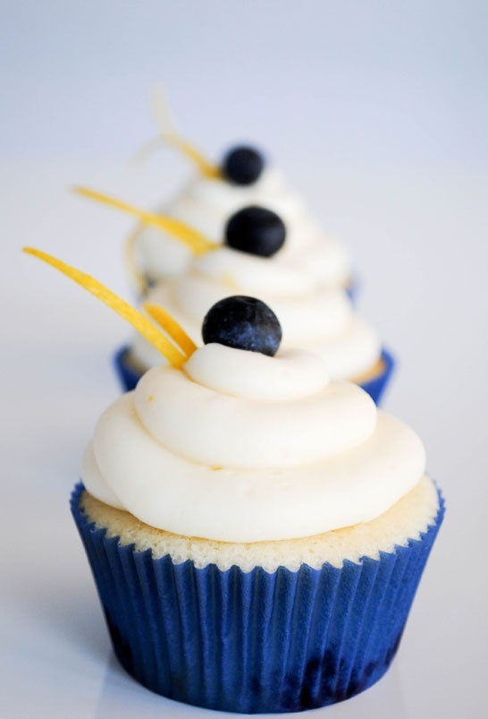 Fresh Blueberry Cupcakes with Lemon Cream Cheese Frosting