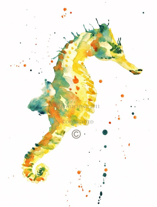 Cute sea horse painting
