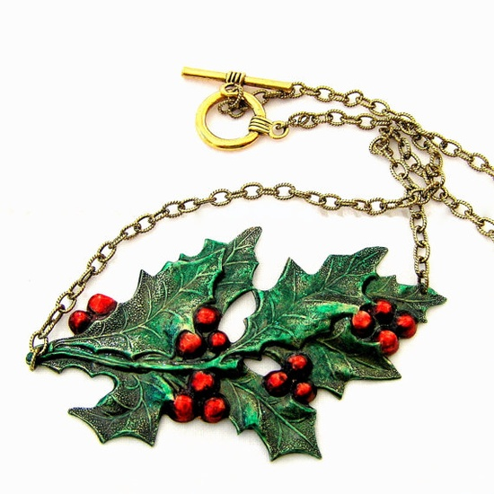 Christmas Jewelry Holly Leaf Necklace Holiday by lovelandshadetree, $36.00