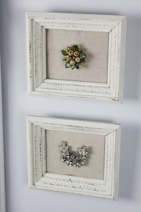 frame grandma's jewelry - for the frame, I was told you can buy old gold frame and paint over with white craft paint and it looks just like this. Then line backing with burlap.