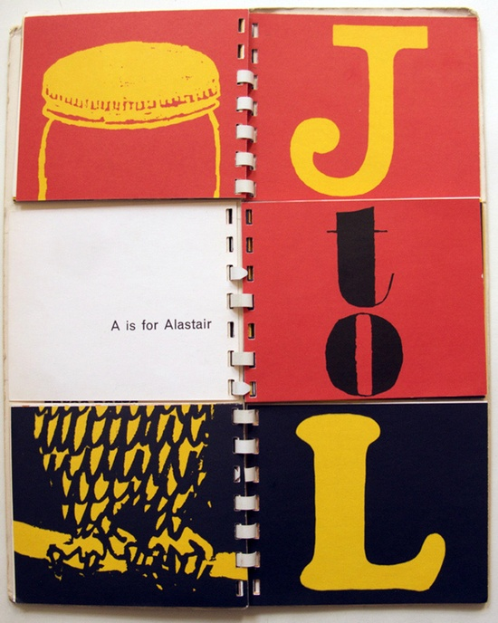 Bob Gill's spiral-bound flip book, A to Z. 1962. Lovely.