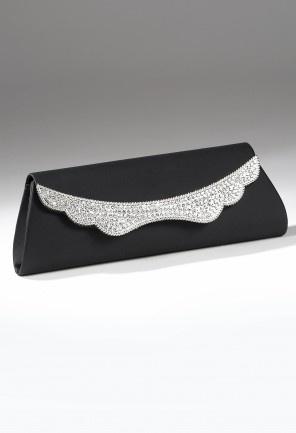 Handbags - Full Satin Flap Handbag with Rhinestone Detail from Camille La Vie and Group USA