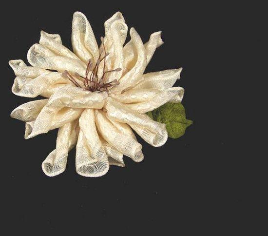 Vintage Style Dahlia Ribbon Flower Pin Brooch with by WaywardWomen