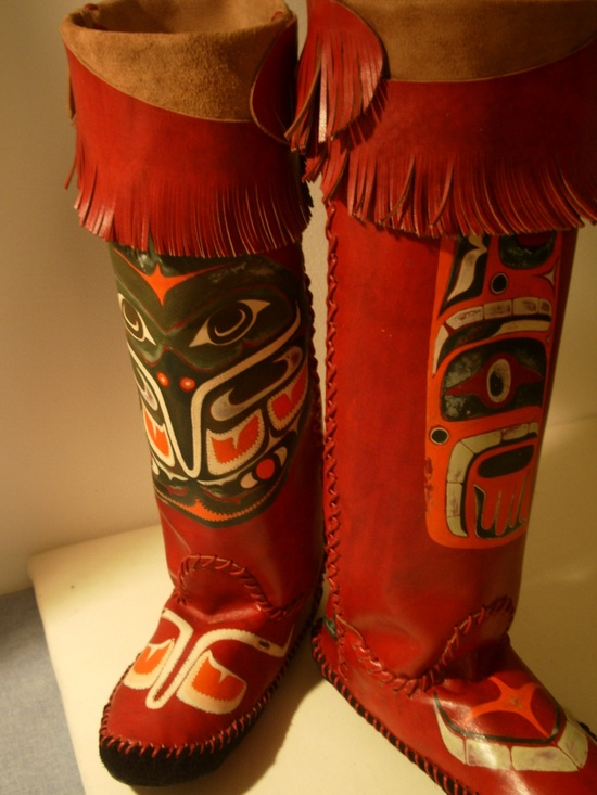 Boot Moccasins Haida Native American Images Killer Wale TEE-PEE-TOES Hand Made Cracchiolo Designs.