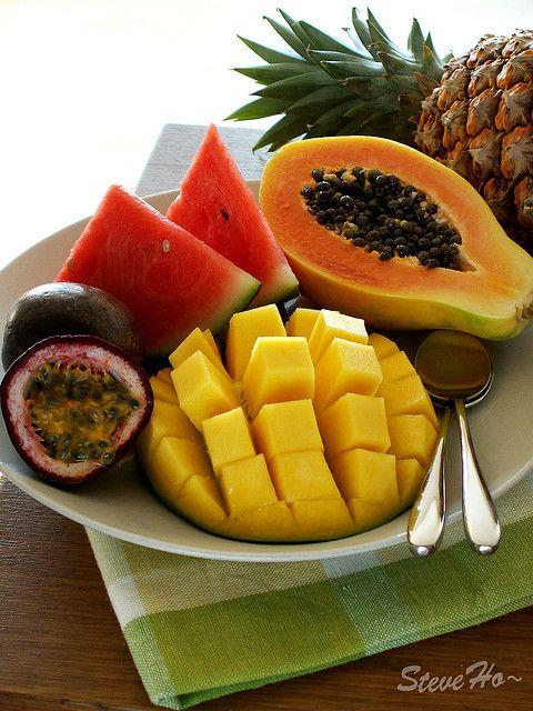 My fav fruits: Passion Fruit, Watermelon, Mango, Papaya, Pineapple