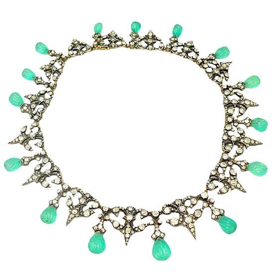 Rare Exquisite Georgian Diamond and Emerald necklace.  England Circa mid 1800's