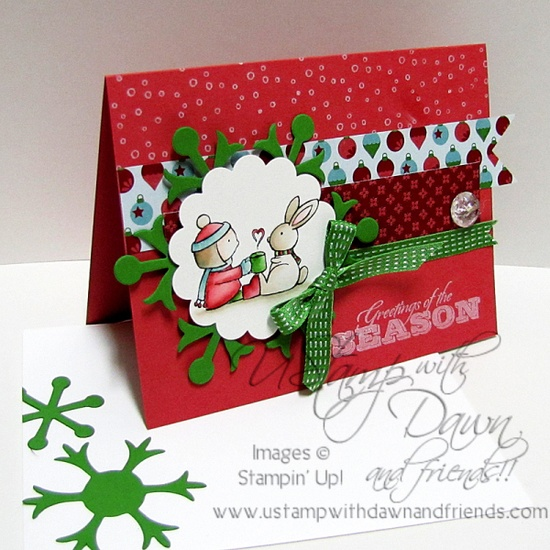 Such a darling, cheerfully vibrant holiday card. #cards #card_making #scrapbooking #Christmas
