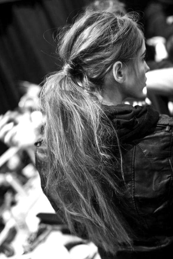 Messy ponytail. #hair #style #fashion #brunette #long #beautiful #woman