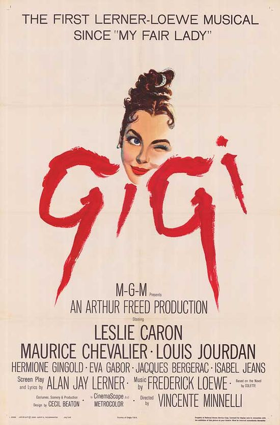 My favorite movie since I was a little girl!  I have seen this movie countless times! This movie is what helps me keep my faith in the art of love and the beauty of a the true union of a man and a woman.    Gigi, 1958
