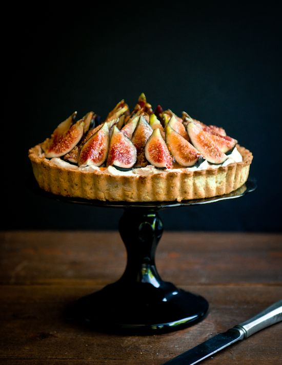 Fig, Mascarpone, and Pistachio Tart from Desserts For Breakfast. #desserts_for_breakfast #figs #mascarpone #cheese #pistachio #tarts #desserts #photography #food #pastry #fruit #cream #black #red #white