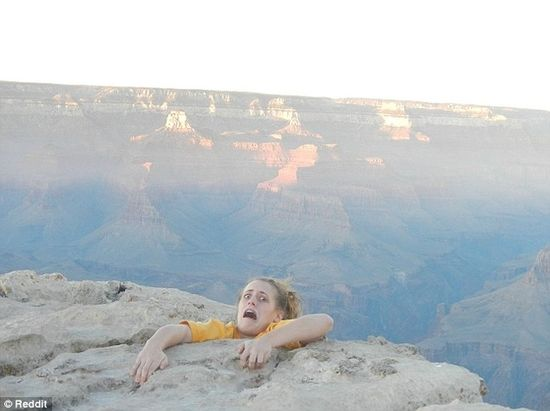 girl falling from grand canyon