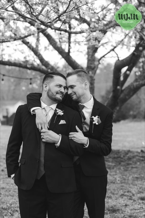 Loving this classy black and white shot of these newly weds. These grooms had a romantic spring ceremony at Hudson Manor in Louisburg, NC. Their photographs were taken by MKM Photography.