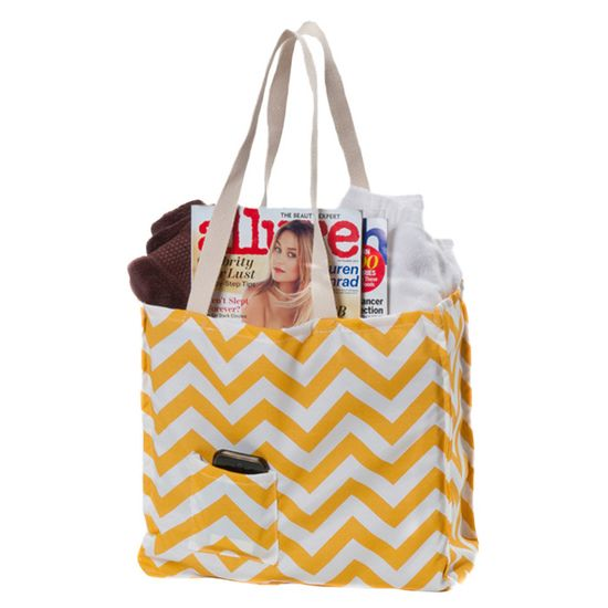 Chevron Tote in Yellow. Great travel + beach bag