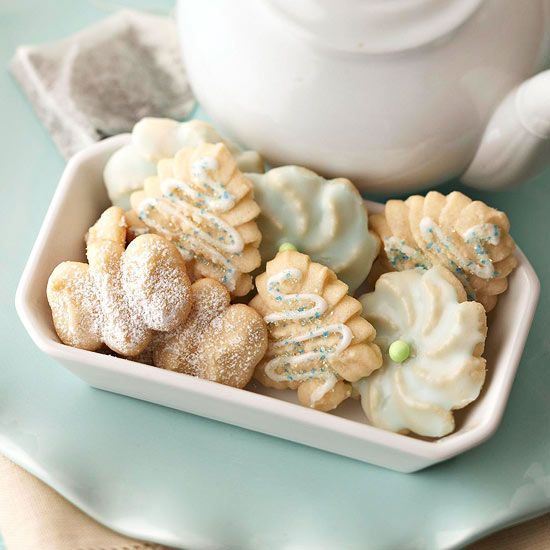 Almond Spritz- Customize these buttery almond cookies with icing and small candies.