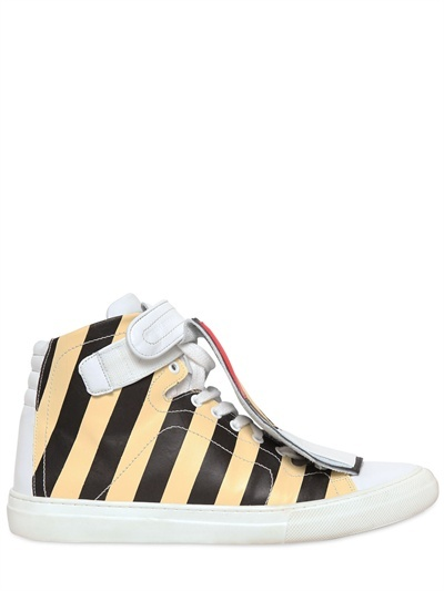 PIERRE HARDY -LIMITED EDITION STRIPED LEATHER SNEAKERS