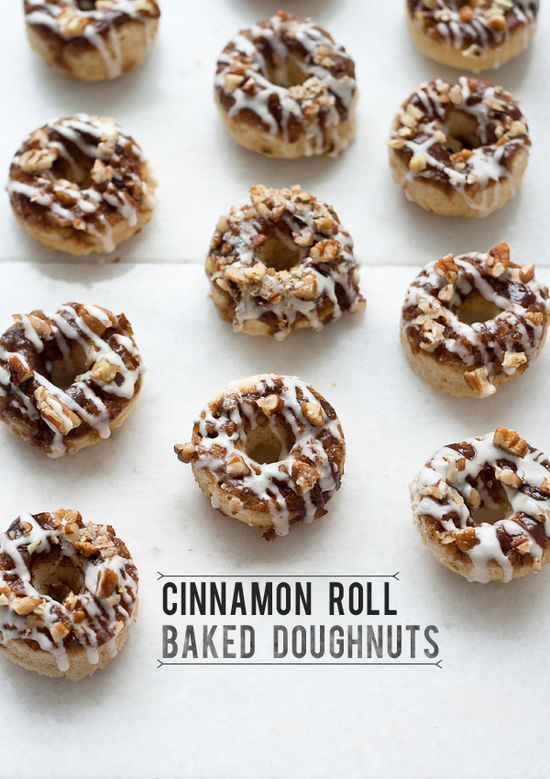 cinnamon roll baked doughnuts via top with cinnamon