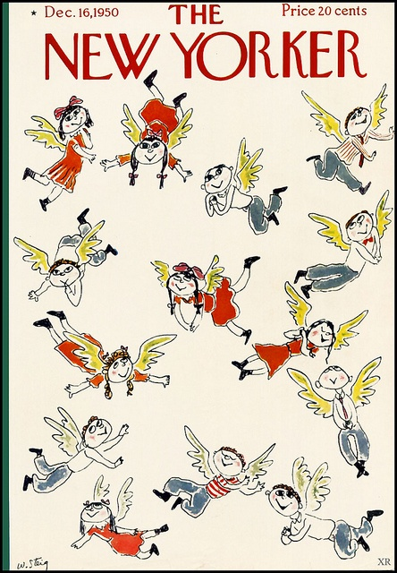 Little angels swarm across this 1951 New Yorker cover. #vintage #magazines #Christmas #1950s