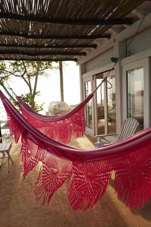 pink hammocks!