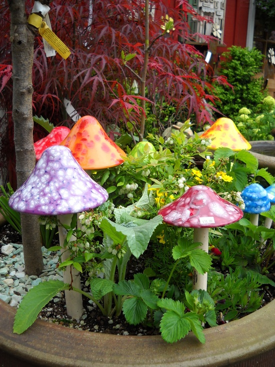 ceramic mushrooms in the garden