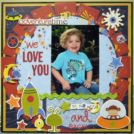 We Love You To The Moon And Back - Scrapbook.com - #scrapbooking #layouts #bobunnypress