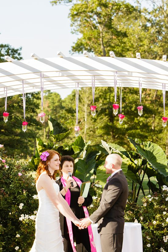 flowers hanging from pergola @Running Deer Golf Club Weddings