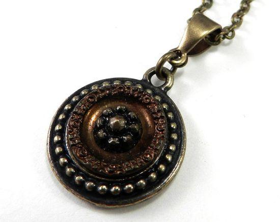 Antique Button Necklace Victorian Button by CompassRoseDesign, $38.50