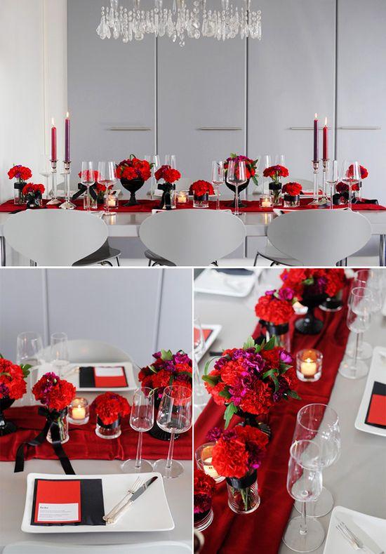 Modern red & black tablscape