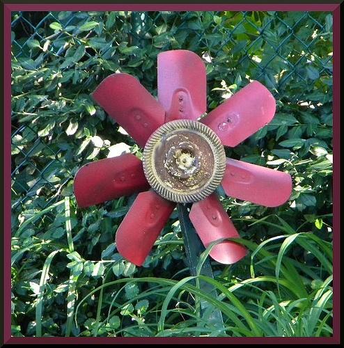Yard Art – radiator fan :))