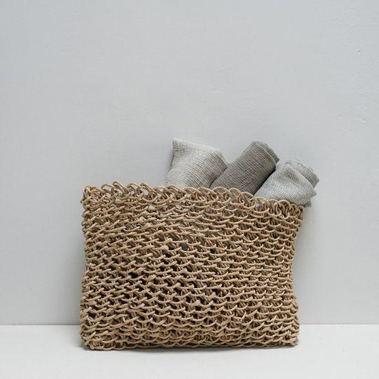 Paper Cord Flat  Basket  Natural