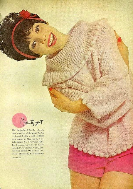 #1960s #vintage #sixties #makeup #beauty #cosmetics #fashion #style #shorts #sweaters #pink