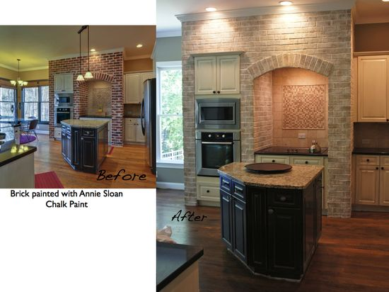 stained brick before and after