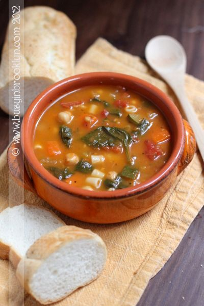 Minestrone Soup – minestrone is basically a thick Italian soup, usually w/ veggi