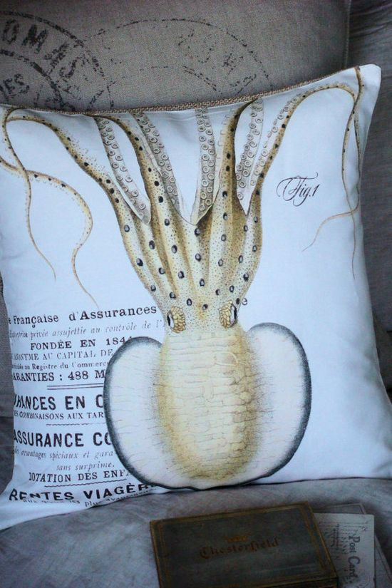 Pillow CoverThe Squid Beach Decor by JolieMarche on Etsy, $35.00