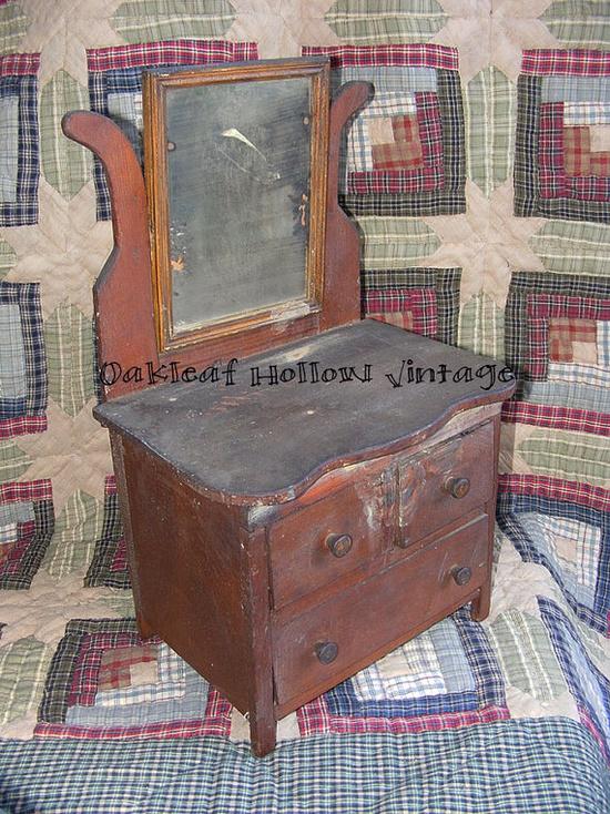 Vintage Childrens Primitive Toy Dresser Handmade Wood with Mirror