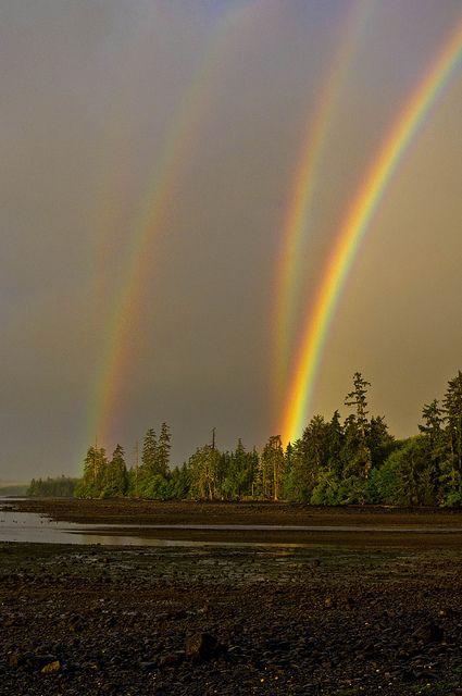 Mirrored double rainbow in Naden Harbour, Haida Gwaii, British Columbia Canada
