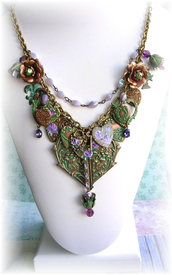 Hand Painted Enamel Purple Roses Heart Charm Necklace Glass Beads Vintage Key Signed Dated OOAK.   GORGEOUS....$65.00, via Etsy.  Lots of bsueboutiques green brass, Beanz is a master of putting it all together.