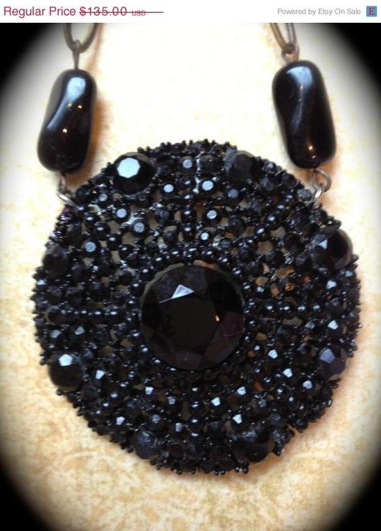 VALENTINES SALE Vintage black rhinestone by JNPVintageJewelry, $108.00