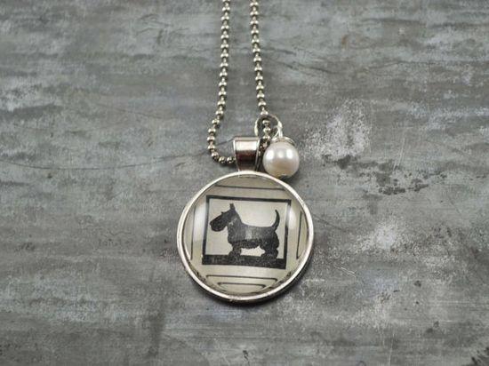 Vintage Dictionary Necklace Pendant SCOTTIE Dog by www.kraftykash.net $21.00 #handmade #jewelry