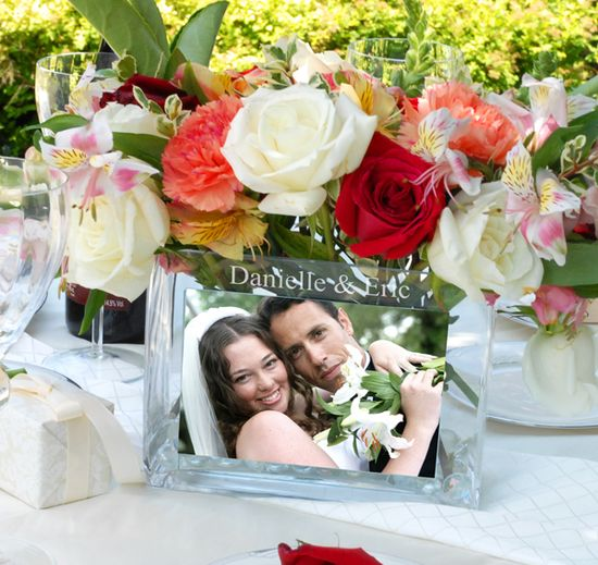 Wedding Reception Glass Photo Vase. These are just the cutest I'm getting these for my reception tables.