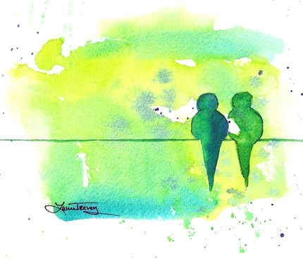 Love Birds: original watercolor painting