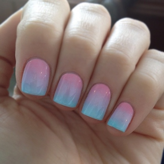 pastel ombre nails. applied with makeup sponge