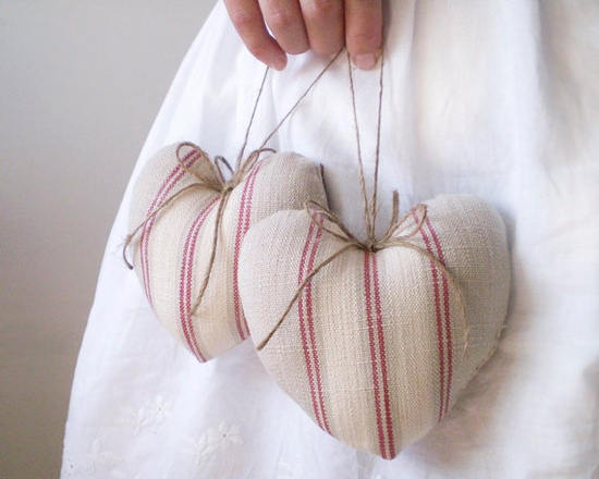 Rustic Heart Ornaments   Two Red French Country
