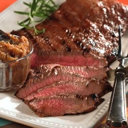 Marinated Flank Steak by allrecipes: Marinate overnight in the fridge and grill it in minutes. Allow to cool and slice thinly on the bias. Wonderful plain, with a chimichurri sauce or for fajitas. #Beef #Flank_Steak