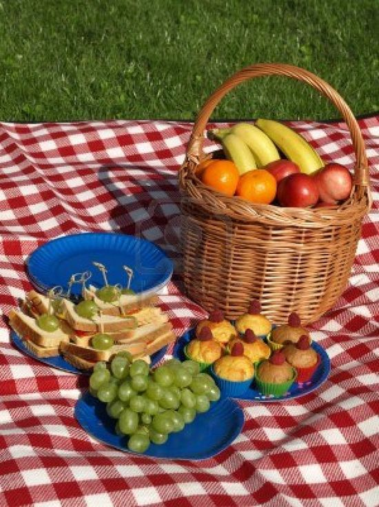Summer picnic on fresh air, fruits and sandwiches Stock Photo - 14659418