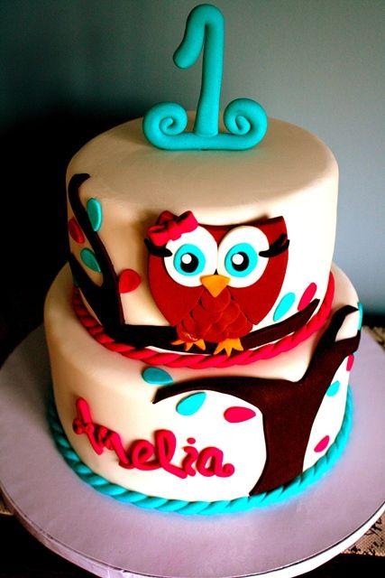 Children's Birthday Cakes - 1st Birthday Owl Themed Cake - Lisa! Pinned this for you girl! @Ashlee Outsen Hoff  @nikki striefler Dilley